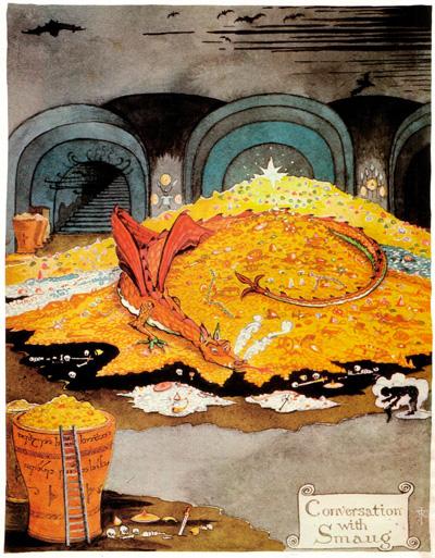 Tolkien'in çizimiyle Hobbit kitabındaki ejderha Smaug